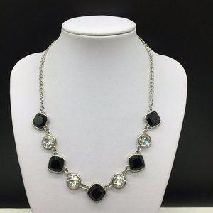 Liz Claiborne Black & Clear Rhinestone Necklace